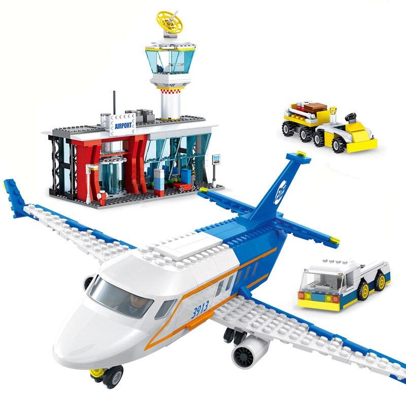864pcs city passenger plane airport set blocks toys airplane legoINGlys plane